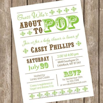 About to Pop Baby Shower Invitation, baby shower invitation, brown, green, typography, printable invitation