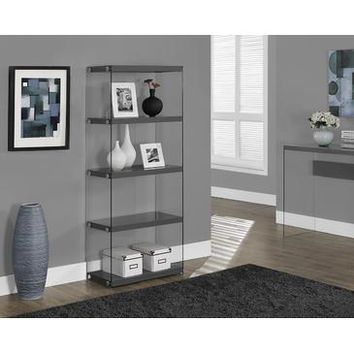 Monarch Specialties Glossy Grey Hollow-Core Tempered Glass Bookcase I 3295