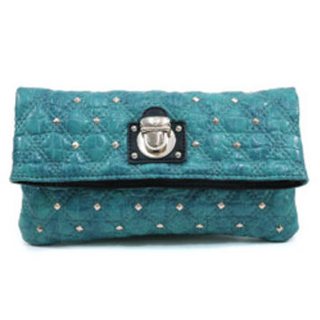 Women's Quilted Croco Clutch w/ Gold Buckle & Stud Accents - Blue