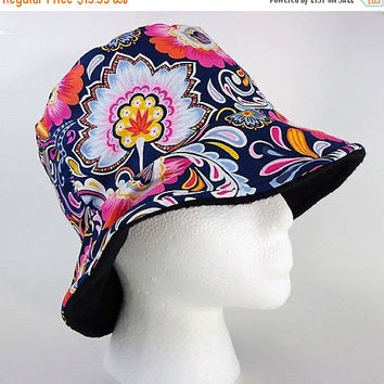 ON SALE 25% OFF Classic Beach Bucket Hat with Reversible Fleece Liner - Made for Cold Nights or Chili Days