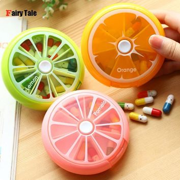 Outdoor Travel Pill Case Portable 7 Day Rotating Weekly Medicine Box Dispenser Cute Candy Color Storage Container Round