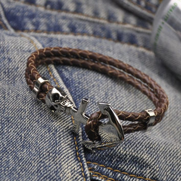Shiny Gift Hot Sale Stylish New Arrival Great Deal Awesome Leather Skull Men Black Accessory Bracelet [6526720195]