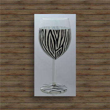 ZEBRA STRIPES hand painted wine glass / bachelorette party glass / birthday gift / painted wine glasses / red wine glass / white wine glass