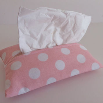 Travel Tissue Holder Kleenex Pouch in Pink Polka Dot