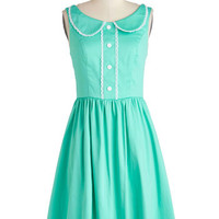 ModCloth Mid-length Sleeveless A-line Dandelion Hearted Dress in Mint