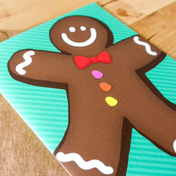 Gingerbread Greeting Card - hand-drawn, paper goods, greeting card, gingerbread, holidays, christmas, tis the season,