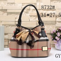"""Burberry"" Women Temperament Fashion Multicolor Tartan Stripe Ribbon Handbag Single Shoulder Bag Big Bag"