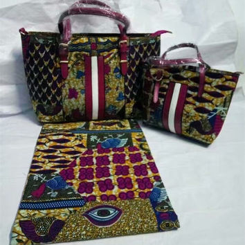 3pcs/set Fushcia&brown eyes design african wax cotton fabric with african wax bag and purse for african choir party