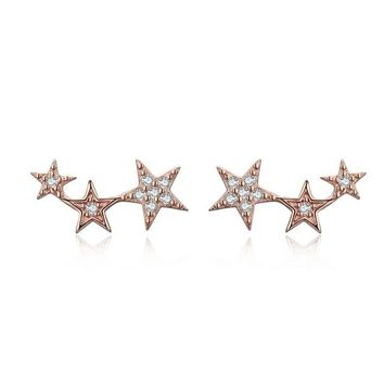 925 Sterling Silver Gold Color Sparking Star Stud Earrings For Women