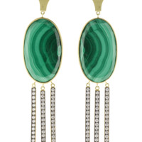 Oval Malachite Earrings | Marissa Collections