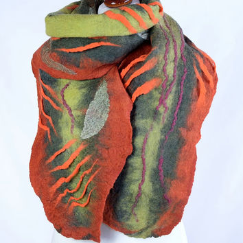 Large leaf scarf in green and russet - stylish nuno felted designer shawl - warm and cozy natural winter scarf [S166]