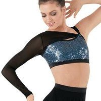 Asymmetrical Mesh Sleeve Sequin Bra Top | Balera™