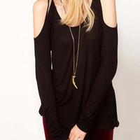 Black Cut-Out Shoulder Loose Fitting Blouse