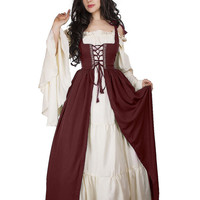 Renaissance Medieval Irish Costume Over Dress & Cream Chemise Set Burgundy S/M