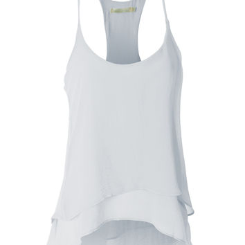 LE3NO Womens Semi Sheer Flowy Hi-Low Sleeveless Racerback Tank Top (CLEARANCE)