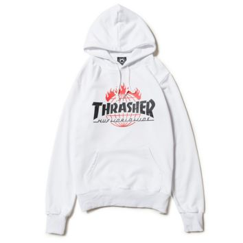 Thrasher Women Men Fashion Print Long Sleeve Hoodies Sweater White