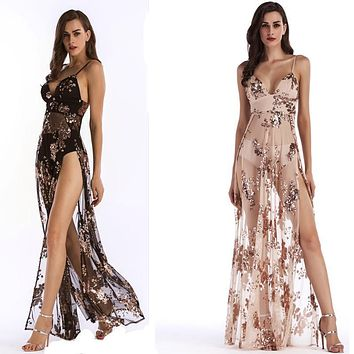 Backless Sequins Spaghetti Straps Transparent Long Party Dress
