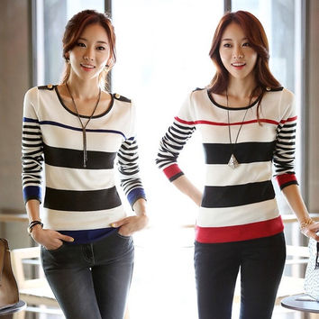 New Women's Long Sleeve Striped Knit Sweater Shirt Bottoming Pullover Shirt Tops  D_L
