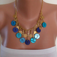 Blue Button Necklace with Chain Speacial Design by SwedishShop
