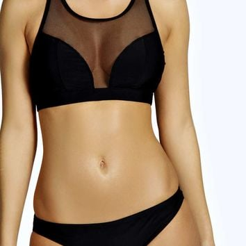 Boutique Rio High Neck Mesh Insert Crop Bikini