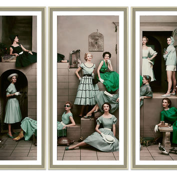 Glamour, 11 Women in Spring Triptych, Photographs