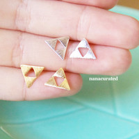 Cut Out Triangle Stud Post, Stud Post Earrings, Post Earrings, Elegant Earrings, Studs, Posts, Triangle Jewelry, Necklace, Minimal,Hipster