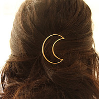Gold OR Silver Crescent Moon Hair Clip. Crescent Moon Hairpin. Moon Hair Pin. Boho Accessory. Boho Hair Clip Gold Hair Clip Silver Hair Clip