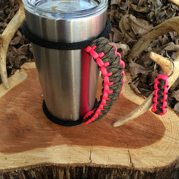 Paracord Yeti Rambler Handle Grip for 20 or 30 oz. Camo / Hot Pink with free matching keychain