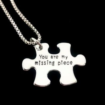 """You Are My Missing Piece"" Inspirational Stamped Puzzle Charm Necklace"