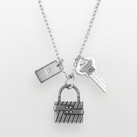 AXL by Triton Stainless Steel Diamond Accent Lock & Key Charm Necklace - Men (Grey)