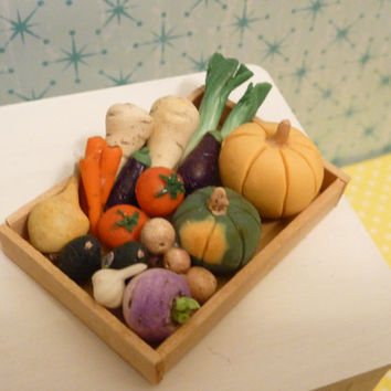 Miniature Dollhouse Assorted Vegetables in a Wooden Tray
