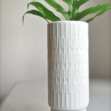 Mid-Century White West German Porcelain Vase Jaeger