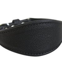 """Leather Hound Dog Collar, Wide, Padded, Double-Ply, Riveted Settings, 14"""" x 1.75"""", Black, 100% Genuine Leather. Neck Size: 9.5"""" - 12"""""""