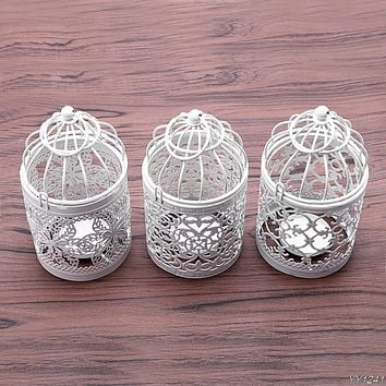 Creative candelabros Hollow Hanging Bird Cage Candle Holder Candlestick Lantern Bridal Decor Vintage Candlesticks Home Decor-W11