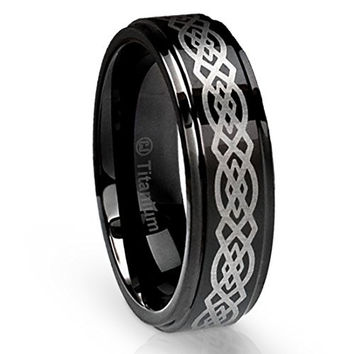 6MM Titanium Ring Wedding Band Black with Celtic Design