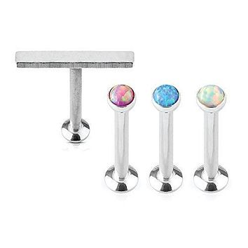 BodyJ4You Tragus Earrings Labret Monroe Helix Opal Stone Stainless Steel 16G Jewelry Set 4 Pieces