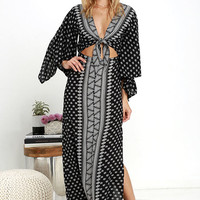 Amuse Society Havana Black Print Maxi Dress