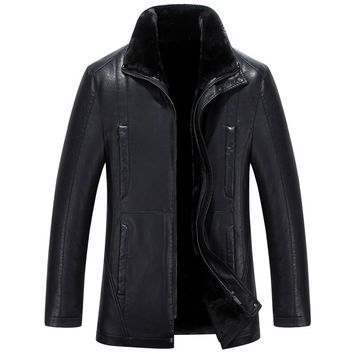 Long Casual Thick Warm Men Faux Leather Jacket