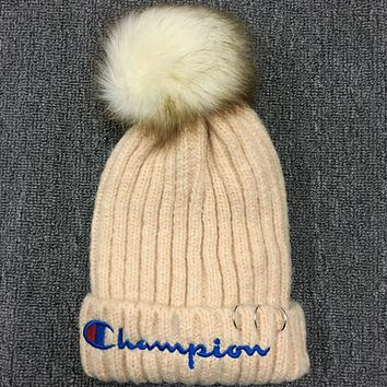 Champion 2018 plus velvet knit hat warm wool hat Beige