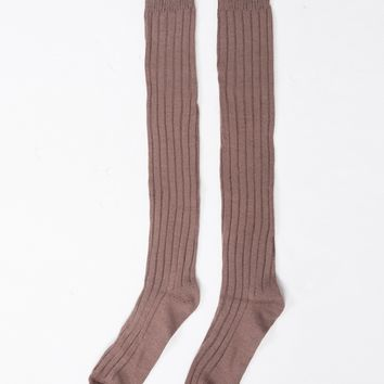 Over-the-Knee Ribbed Socks