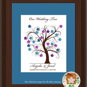 WEDDING TREE GUEST book, thumbprint tree, fingerprint guest tree, fingerprint tree guest book, Love Birds, Wedding tree 11x17 num. 102