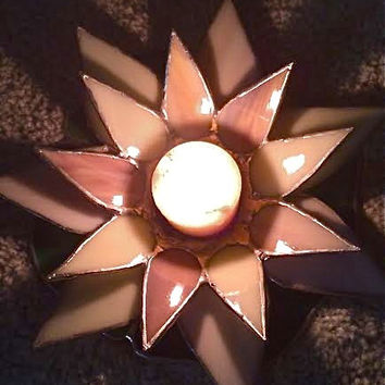 Stained Glass Lotus Flower Candle Holder Votive meditation