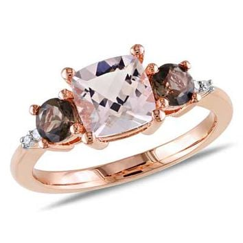 7.0mm Cushion-Cut Morganite, Smoky Quartz and Diamond Accent Ring in Rose Rhodium Plated Sterling Silver