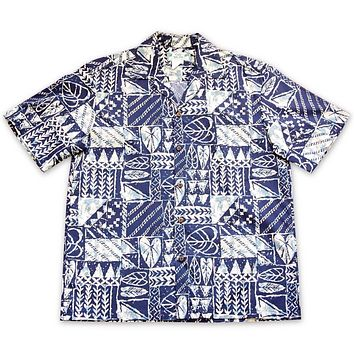 Haleiwa Blue Hawaiian Cotton Shirt