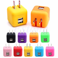 1pcs Dual USB Port 2.1A Cute Travel Home Wall Charger Adapter US Plug For Cell Phone random color