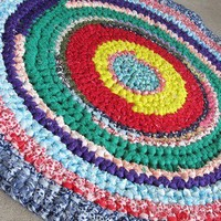 Vintage 2.5 ft round crochet rag rug. estate. Crazy, fun. Circa 1965. | CarpetbaggerCreations - Retro/Kitsch on ArtFire
