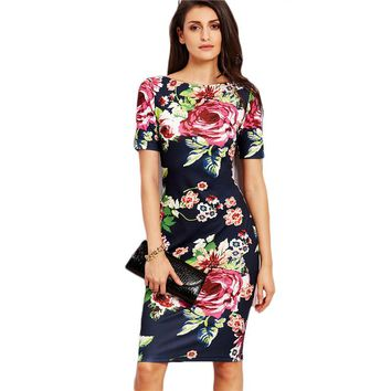 Fashion  Slim Pencil Dress Fall Ladies Round Neck Short Sleeve Knee Length Dress
