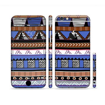 The Abstract Blue and Brown Shaped Aztec Sectioned Skin Series for the Apple iPhone 6 Plus