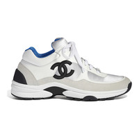 Calfskin & Fabric White, Silver & Navy Blue Sneakers | CHANEL