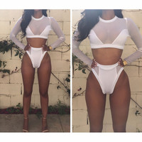 FASHION GAUZE LONG-SLEEVED PURE COLOR TWO-PIECE SUIT